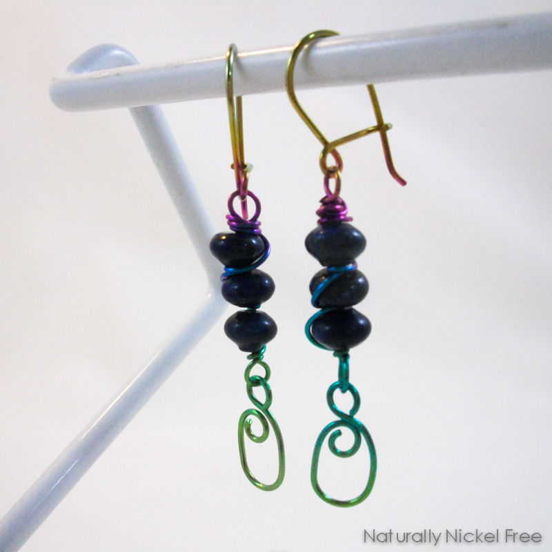 Lapis Lazuli Trio with Oval Dangles with Rainbow Niobium Wirework - product images  of