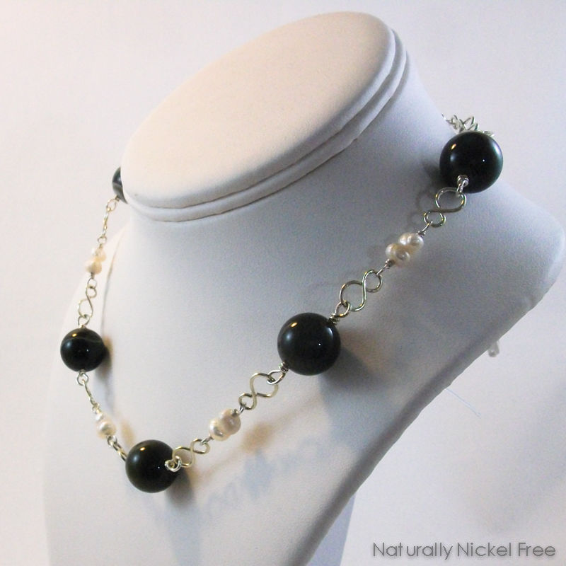Brazilian Agate Choker Necklace with Pearl Accent - product images  of