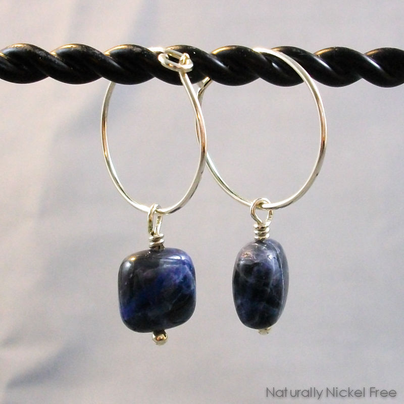 Blue Sodalite Dangle Earrings with Sterling Silver Hoops - product images  of