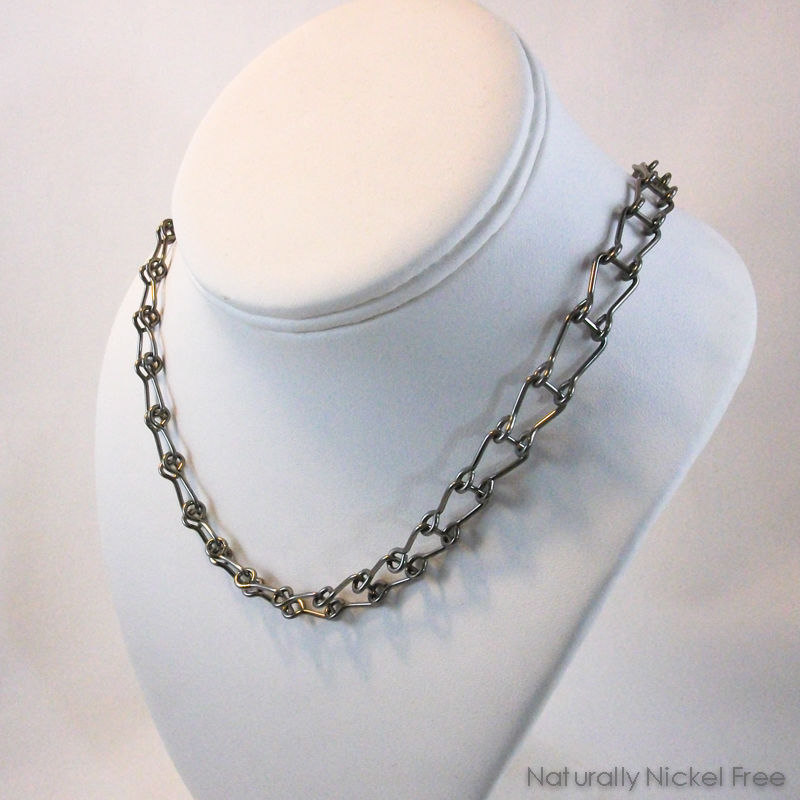 Niobium Chain Choker Necklace with Horseshoe Links - product image