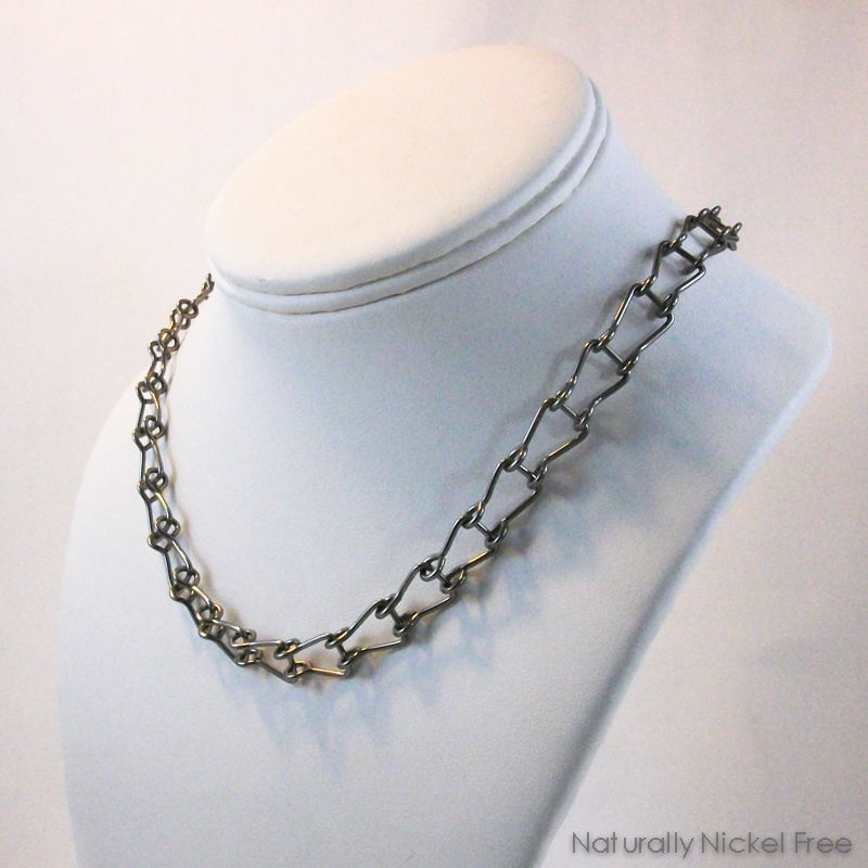 Niobium Chain Choker Necklace with Horseshoe Links - product images  of