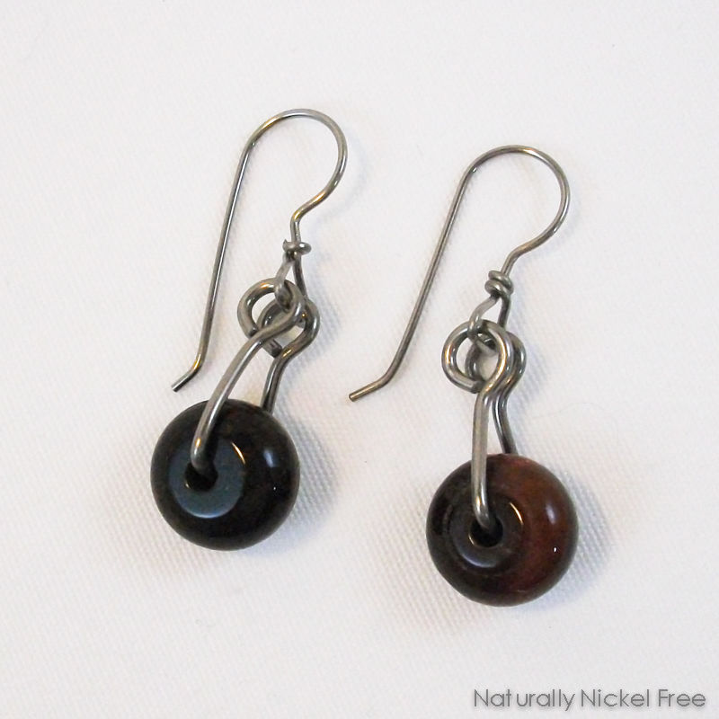 Red Tiger Eye Niobium Dangle Earrings - product images  of