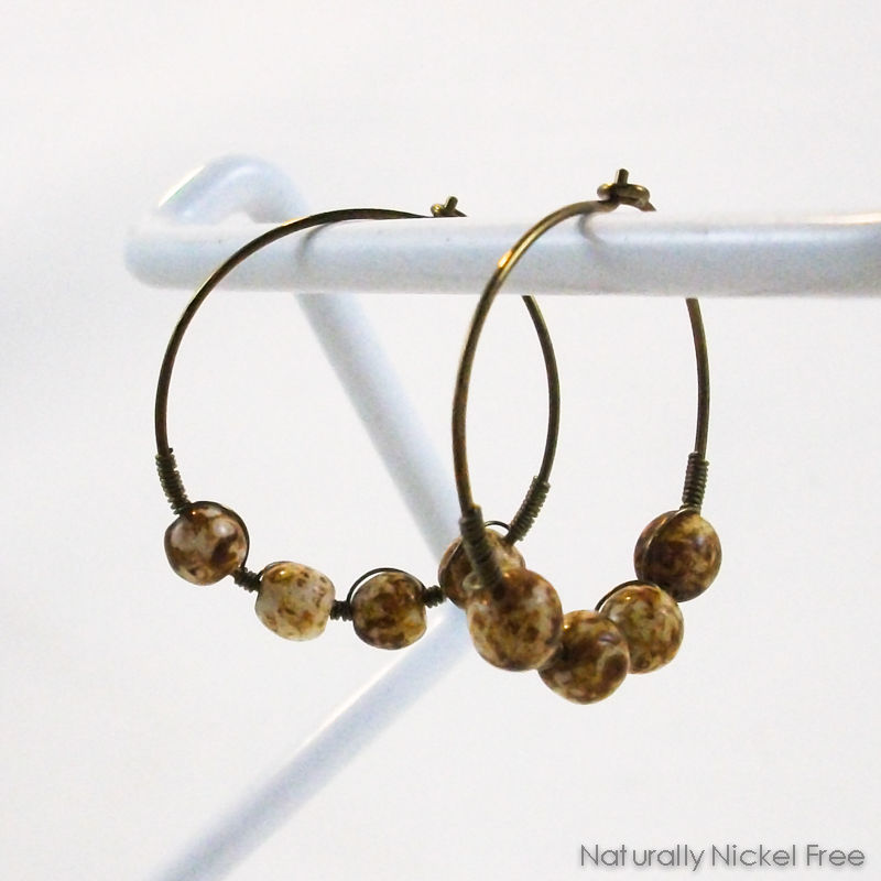 Niobium Hoop Earrings with Brown Jasper Beads - product image
