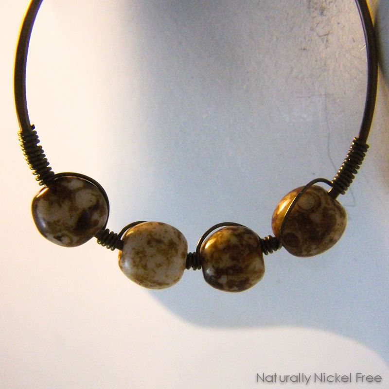 Niobium Hoop Earrings with Brown Jasper Beads - product images  of