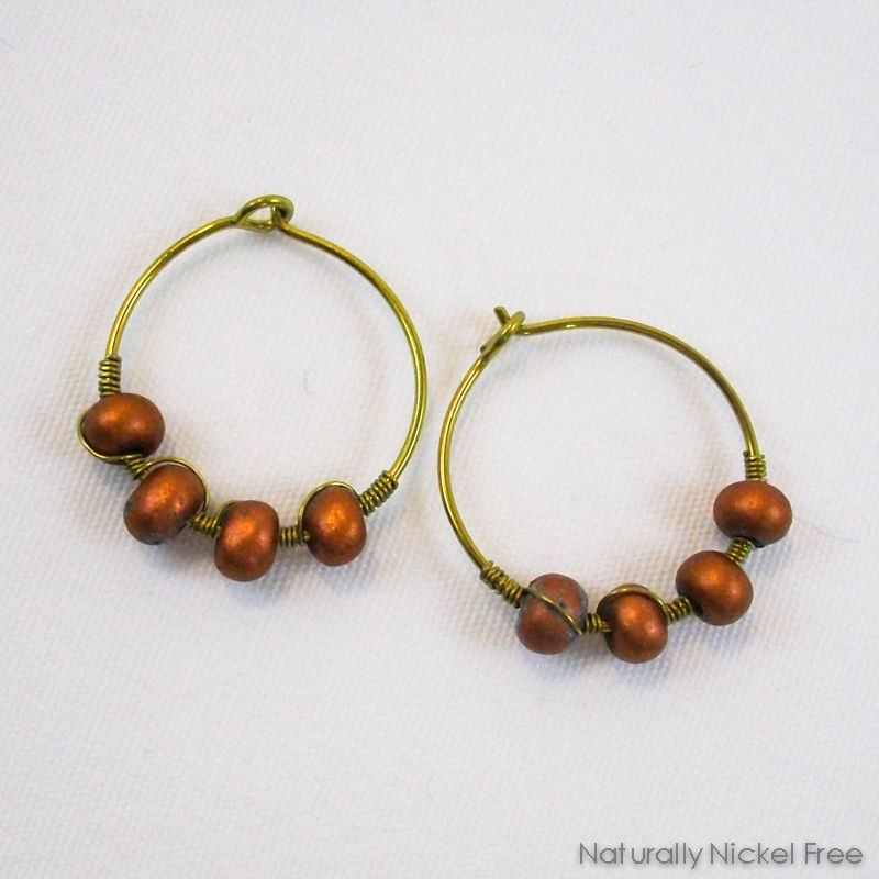 Niobium Hoop Earrings with Bronze-tone Beads - product image