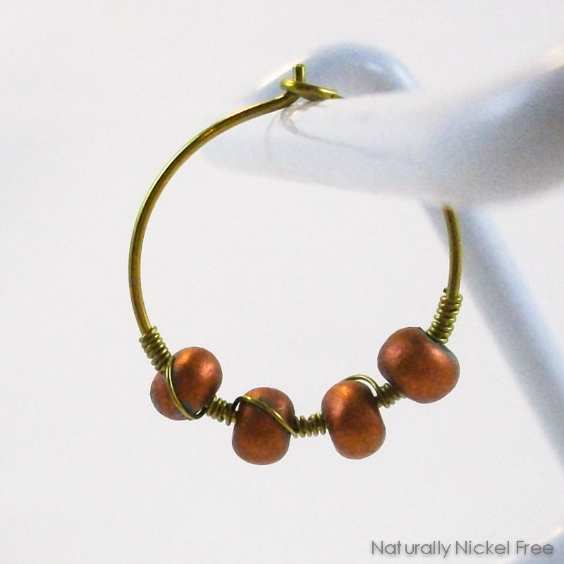Niobium Hoop Earrings with Bronze-tone Beads - product images  of