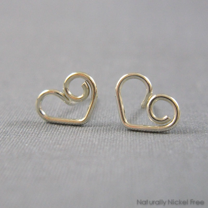 Heart Post Earrings in Argentium Sterling Silver - product image