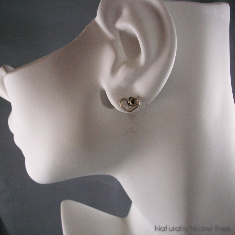 Heart Post Earrings in Argentium Sterling Silver - product images  of