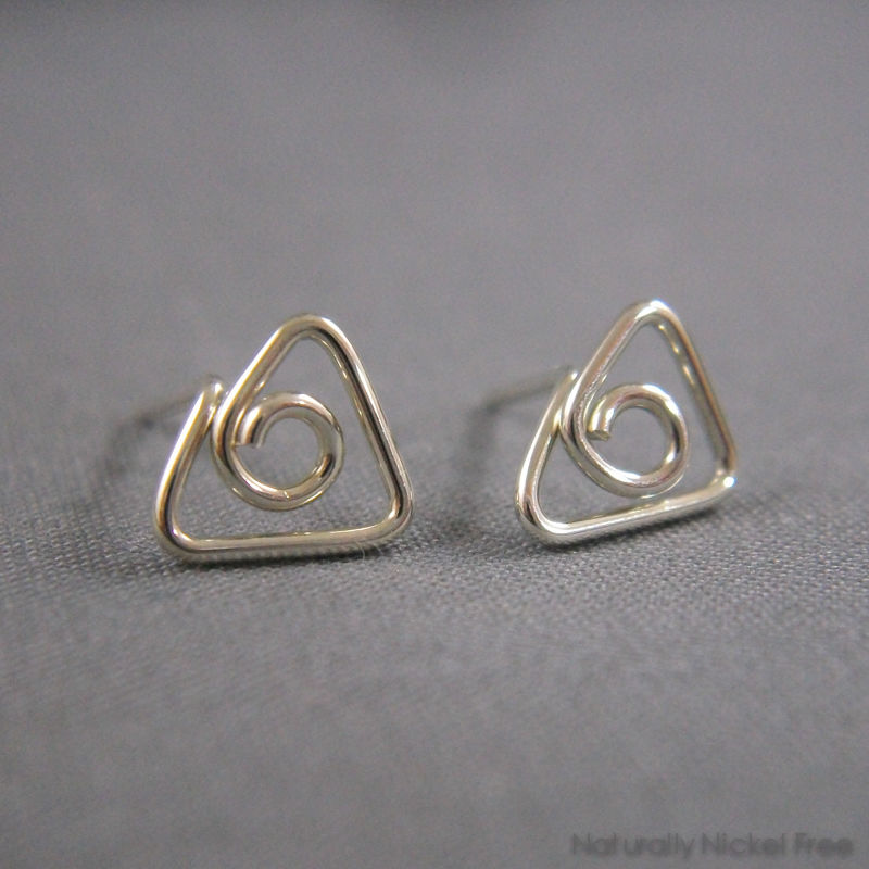 Triangle Wirework Argentium Silver Post Earrings - product image