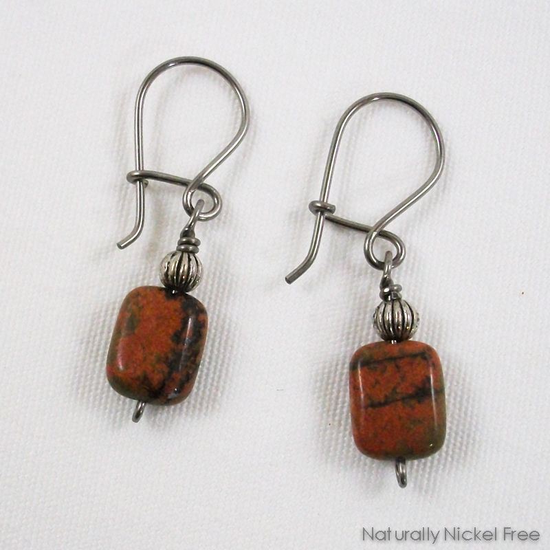 River Creek Jasper Niobium Loop n Latch Earrings - product image