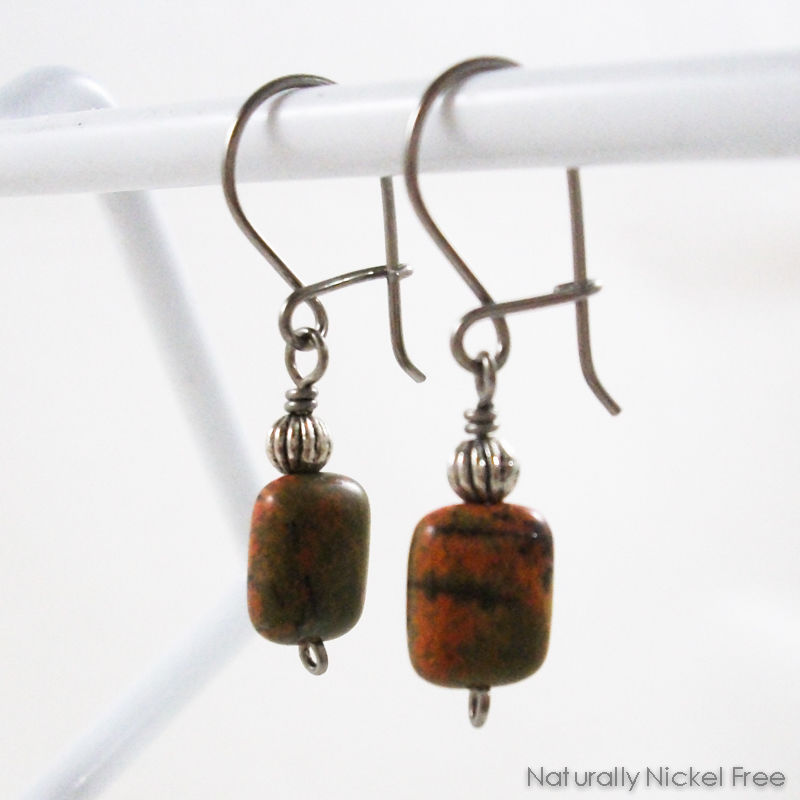 River Creek Jasper Niobium Loop n Latch Earrings - product images  of
