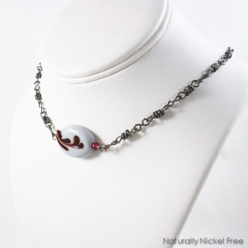 Niobium Choker with Red Floral Design Glass Focal Bead - product images  of