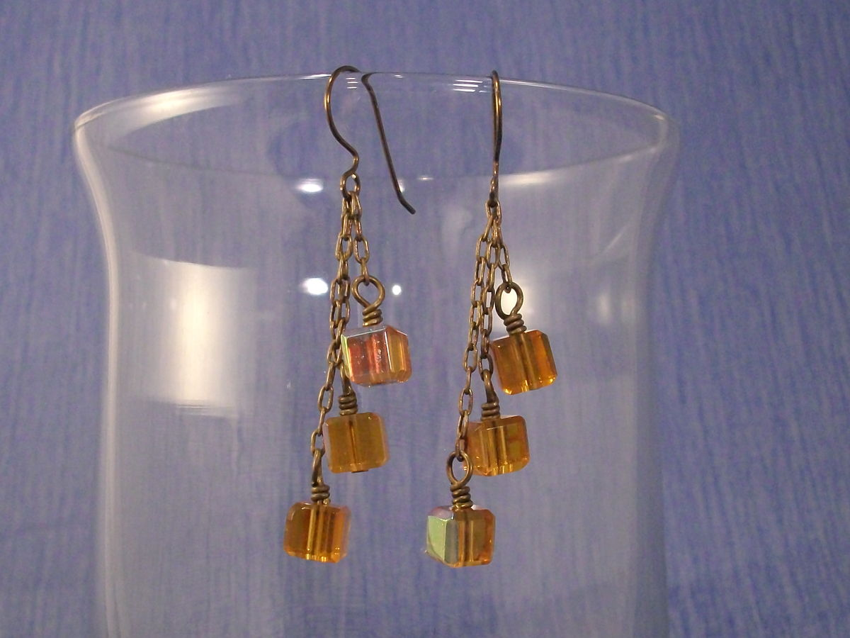 Golden Yellow Glass Cluster Earrings with Niobium Earwires - product images  of