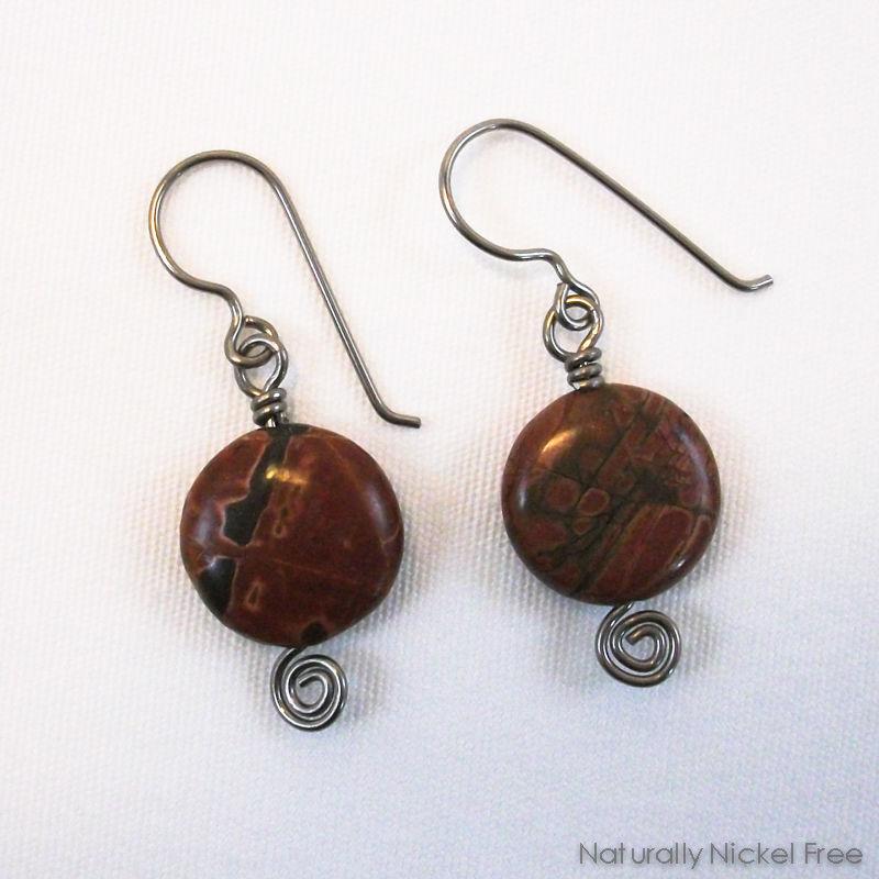 River Creek Jasper Niobium Earrings - Naturally Nickel Free