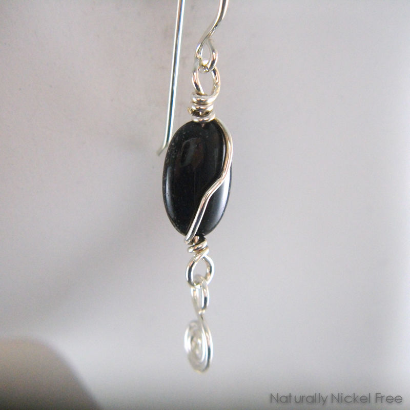 Onyx Earrings with Argentium Silver Wirework - product images  of