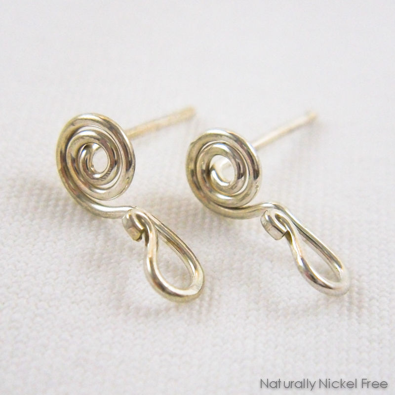 Interchangeable Spiral Post Earrings, Argentium Silver - product image