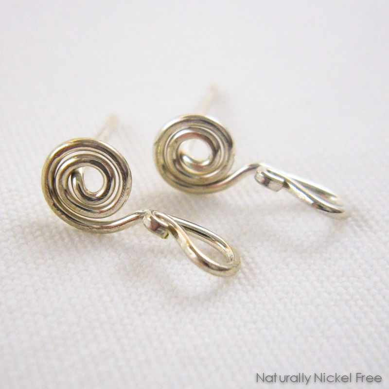 Interchangeable Spiral Post Earrings, Argentium Silver - product images  of