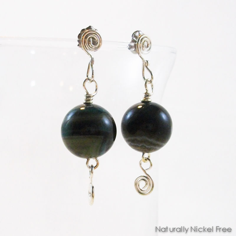 Brazilian Agate Bead Dangle Argentium Silver Post Earrings - product image