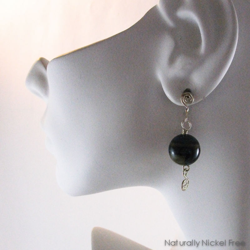 Brazilian Agate Bead Dangle Argentium Silver Post Earrings - product images  of