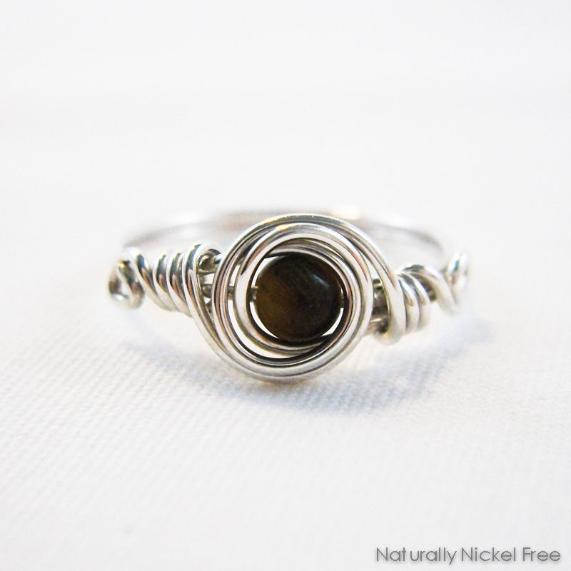 Tiger Eye Bead Wire Wrapped Ring with Argentium Sterling Silver ...