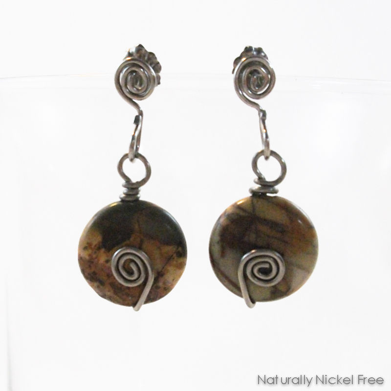 River Creek Jasper Bead Dangle Niobium Post Earrings - product images  of