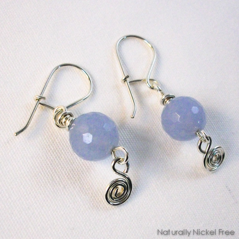 Blue Jade Argentium Sterling Silver Interchangeable Earrings - product images  of