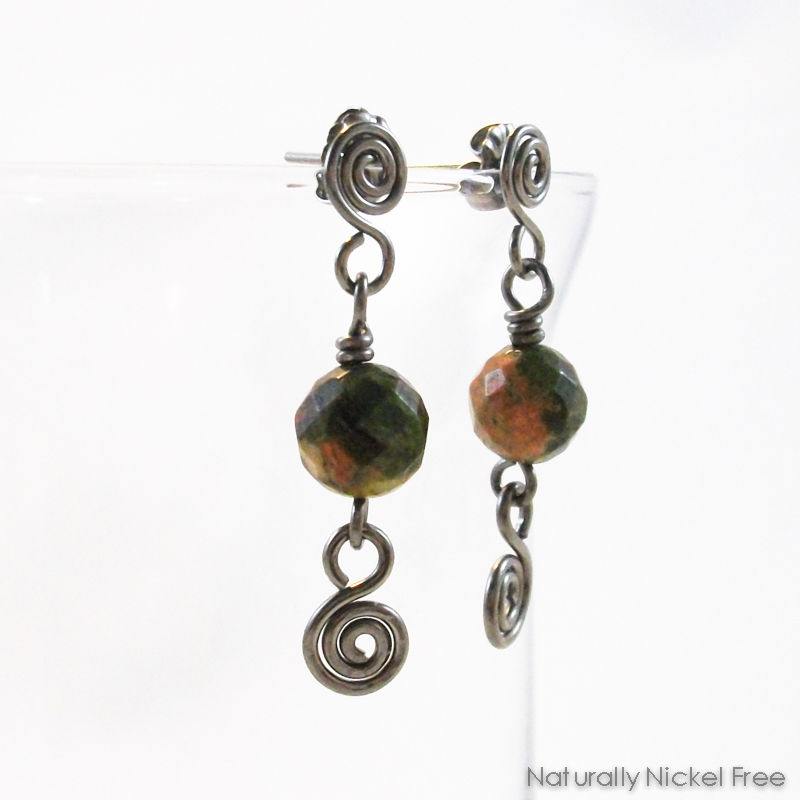 Unakite Stone Bead Spiral Post Drop Earrings  - product image