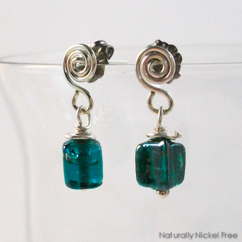 Green Glass Argentium Spiral Drop Post Earrings - product image