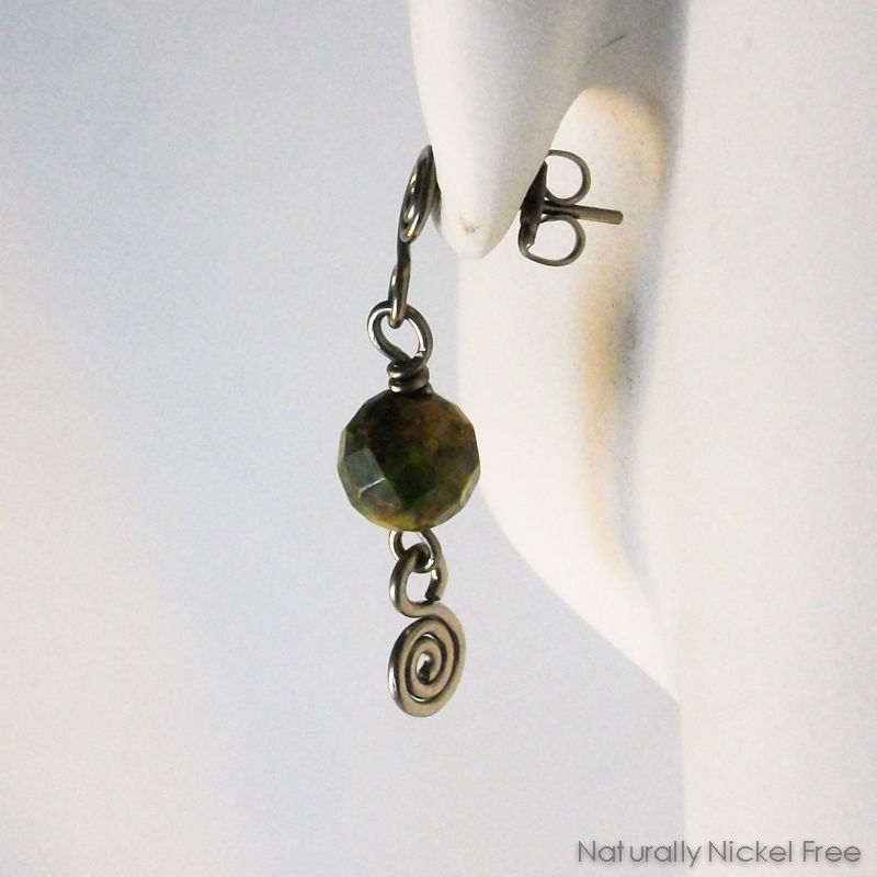 Unakite Stone Bead Spiral Post Drop Earrings  - product images  of