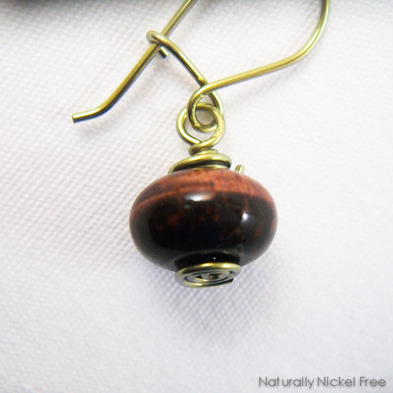 Tiger Eye Niobium Loop n Latch Drop Earrings, Golden - product images  of