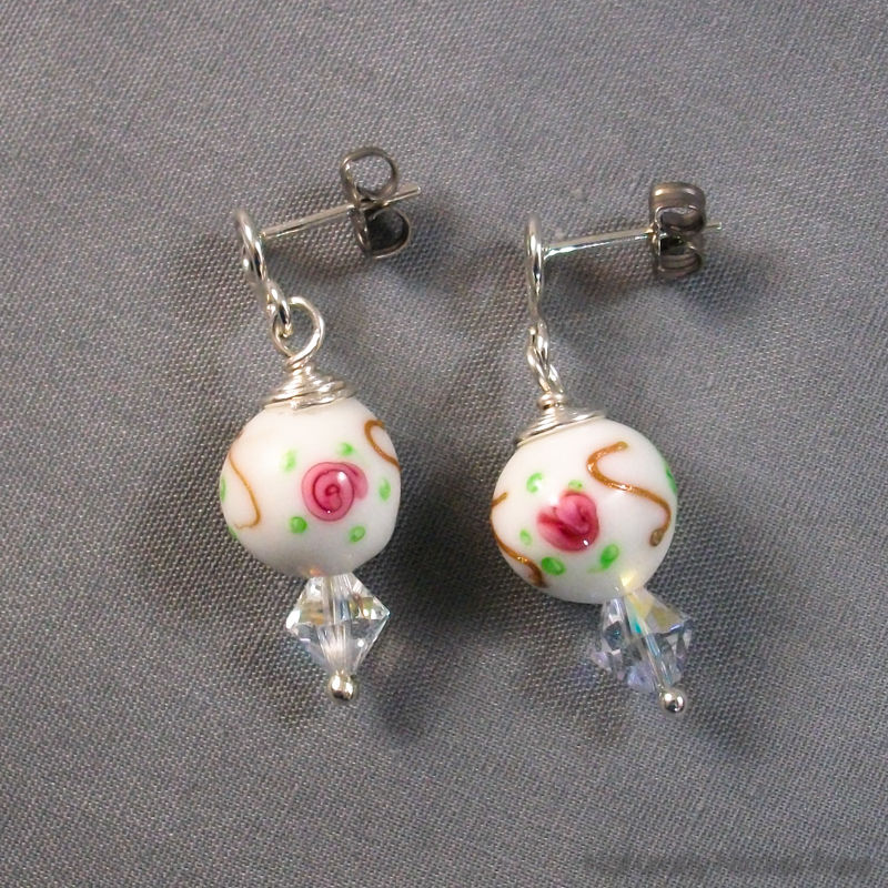 Pink Rose and Crystal Drop Bead Post Earrings - product images  of