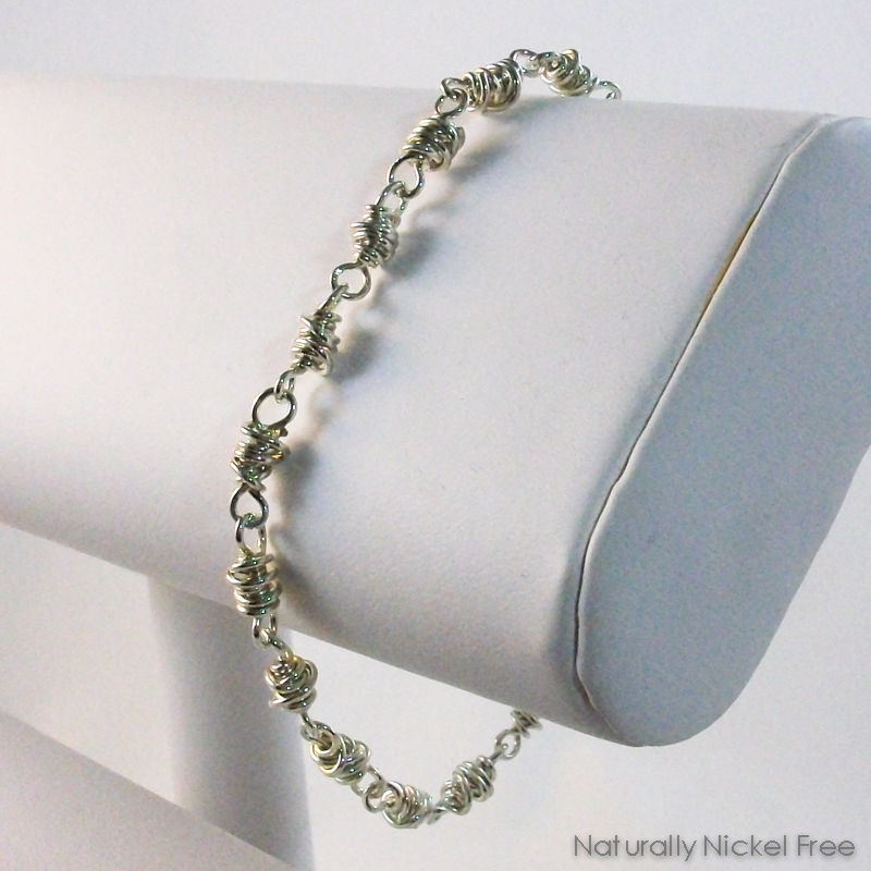 Silver Chain Bracelet in Chunky Wire Wrapped Links, 8 inch ...
