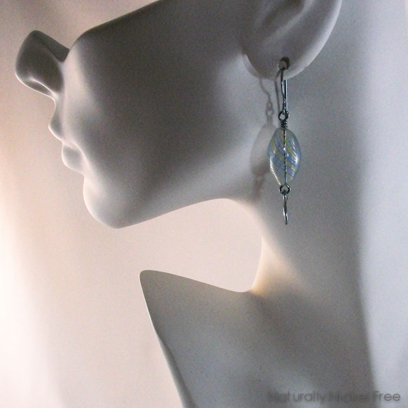 Blue Blown Glass Swirl Niobium Earrings - product images  of