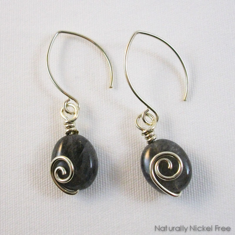 Labradorite Spiral Dangle Earrings - product image