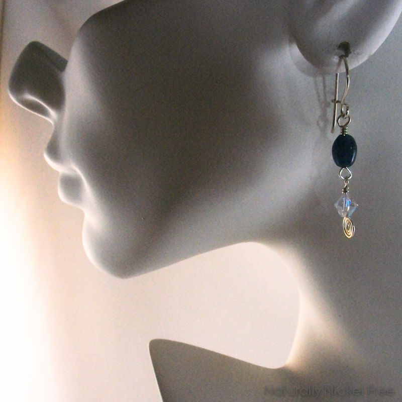 Blue Apatite and Crystal Dangle Earrings - product images  of