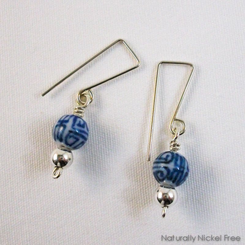 Chinese Script Ceramic Blue and White Dangle Earrings - product image