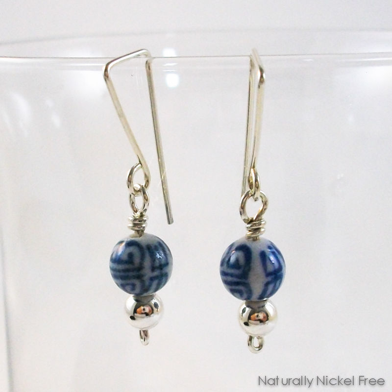 Chinese Script Ceramic Blue and White Dangle Earrings - product images  of
