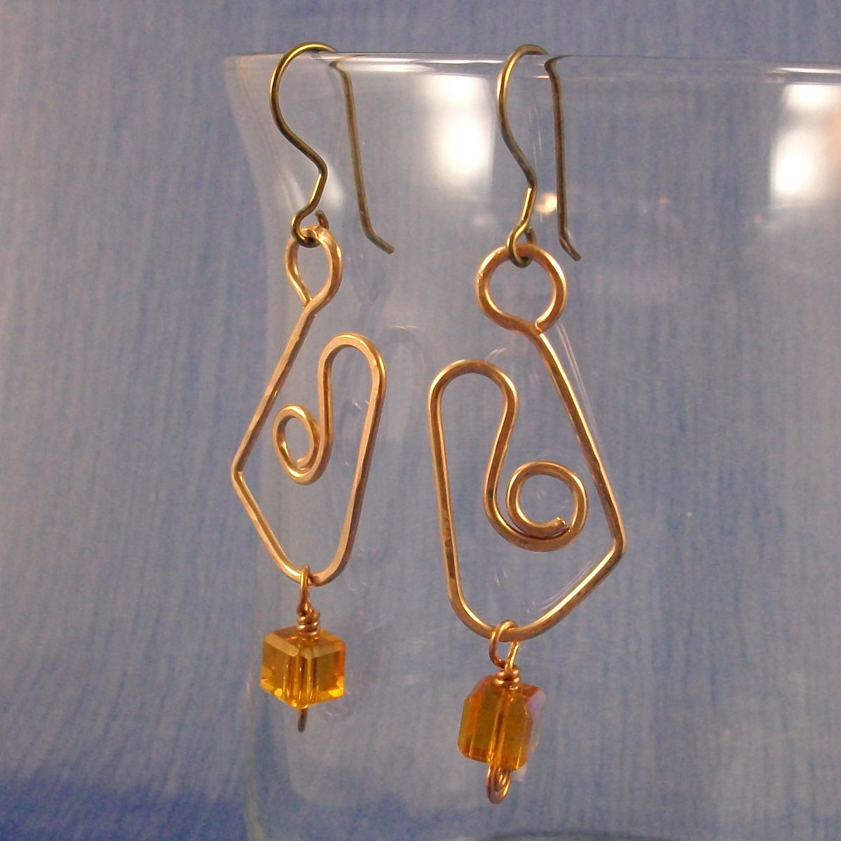 Bronze Wirework Earrings with Niobium Earwires and Amber Glass Cube Accent - product images  of