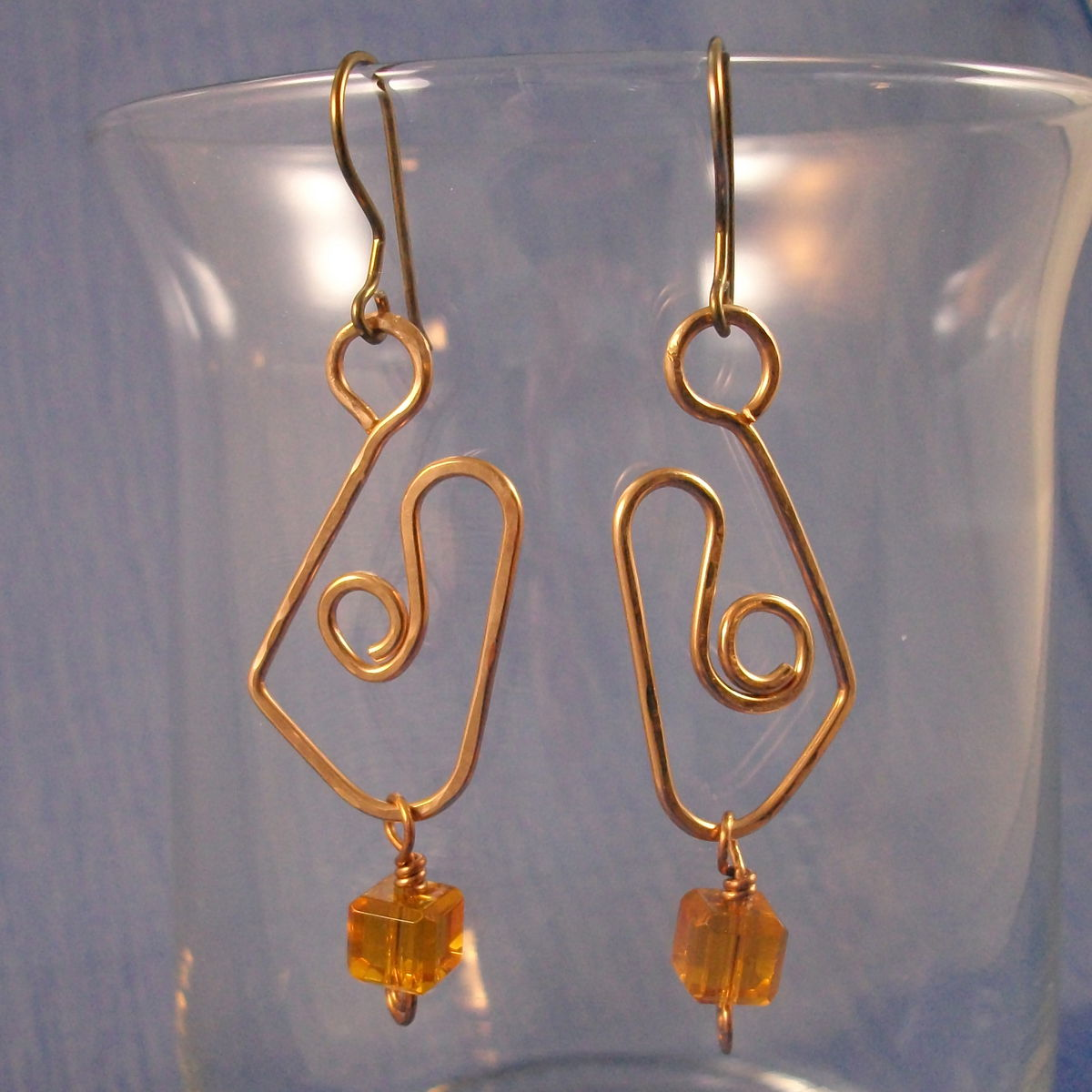 Bronze Wirework Earrings with Niobium Earwires and Amber Glass Cube Accent - product image