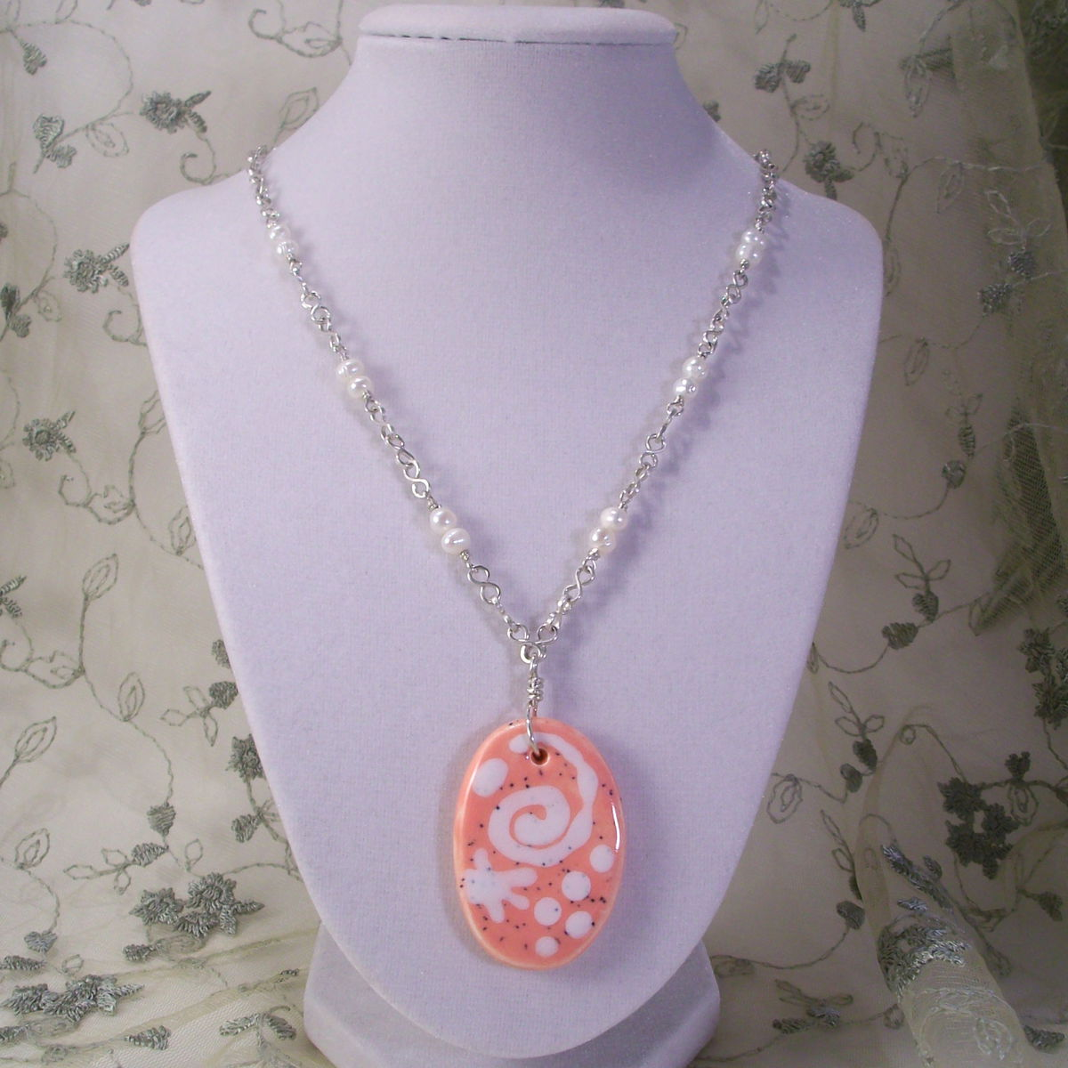 Silver and Pearl Necklace with Large Peach Ceramic Pendant - product image
