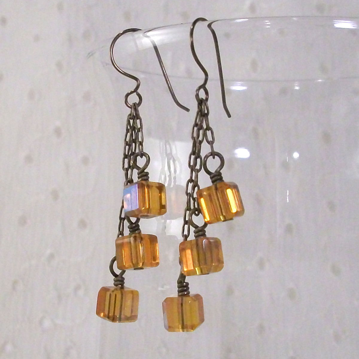 Golden Yellow Glass Cluster Earrings with Niobium Earwires - product image