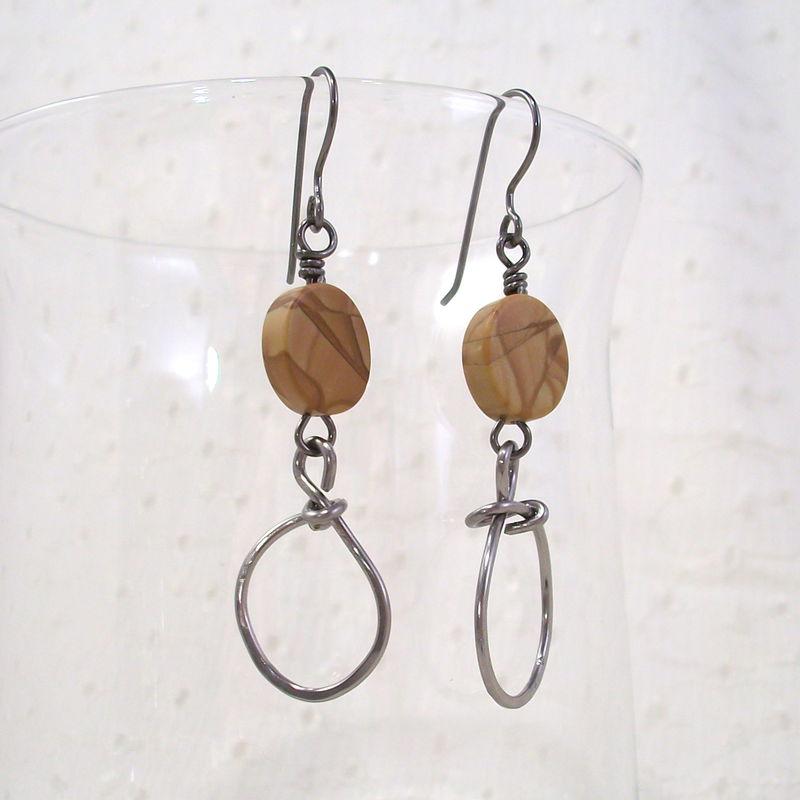 Banded Oak Agate Earrings with Oversized Niobium Wire Loop ...