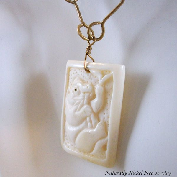 Panda Bear Image, Carved Bone Pendant with Wrapped Brass Wire Chain - product images  of