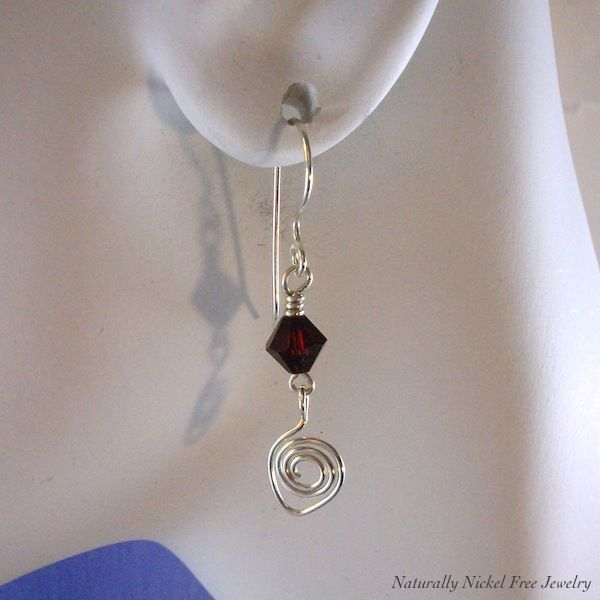 Argentium Sterling Silver Earrings with Red Crystal Dangle - product images  of