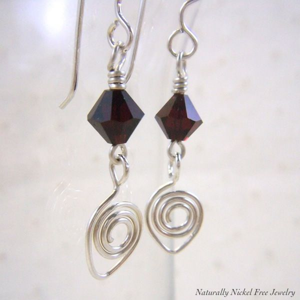 Argentium Sterling Silver Earrings with Red Crystal Dangle - product image