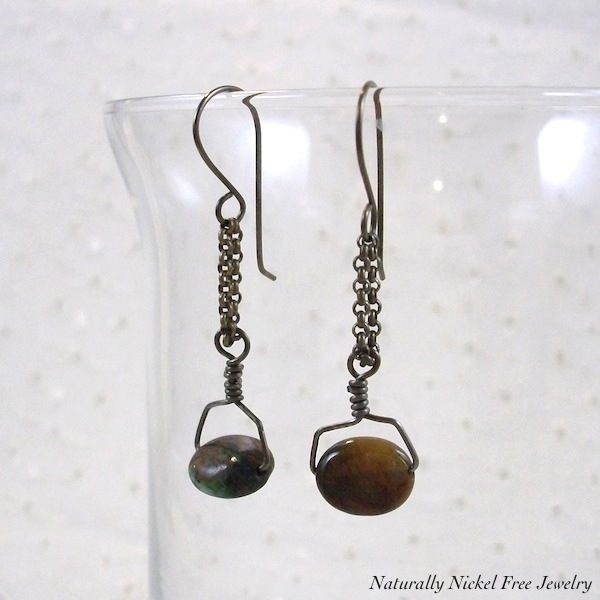 African Copper Green Opal Chain Dangle Earrings - product image