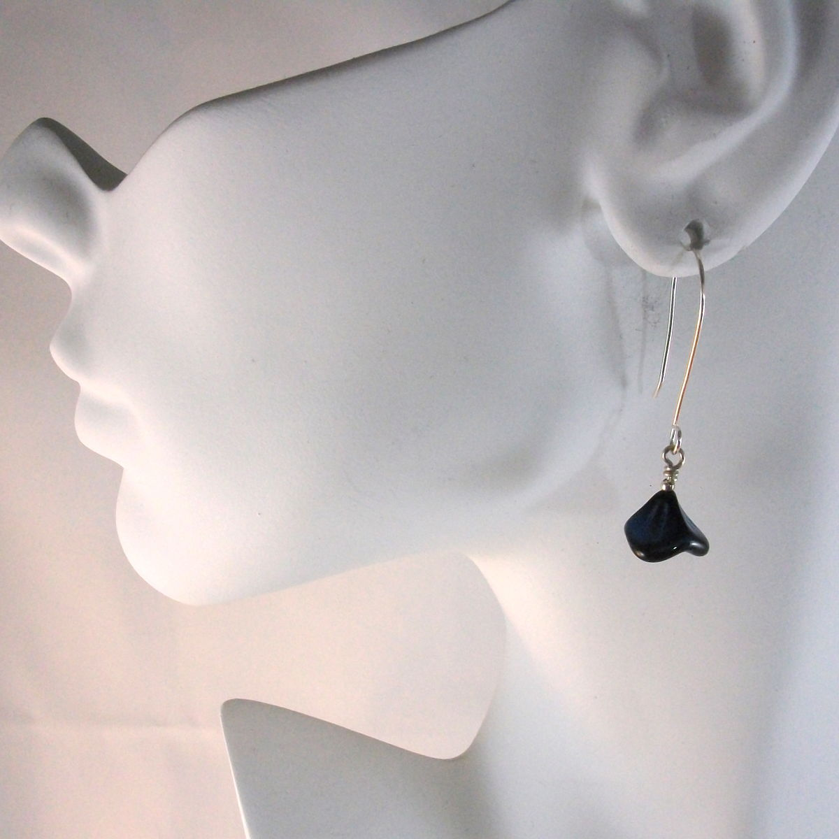 Blue Bell Flower Glass Dangle Earrings Argentium Sterling Silver - product images  of