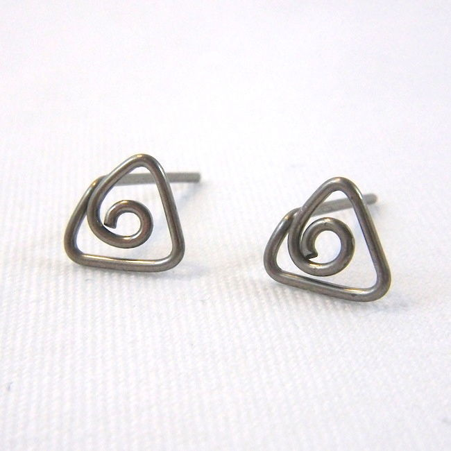 Triangle Spiral Niobium Wire Post Earrings, Choose Your Color - product image