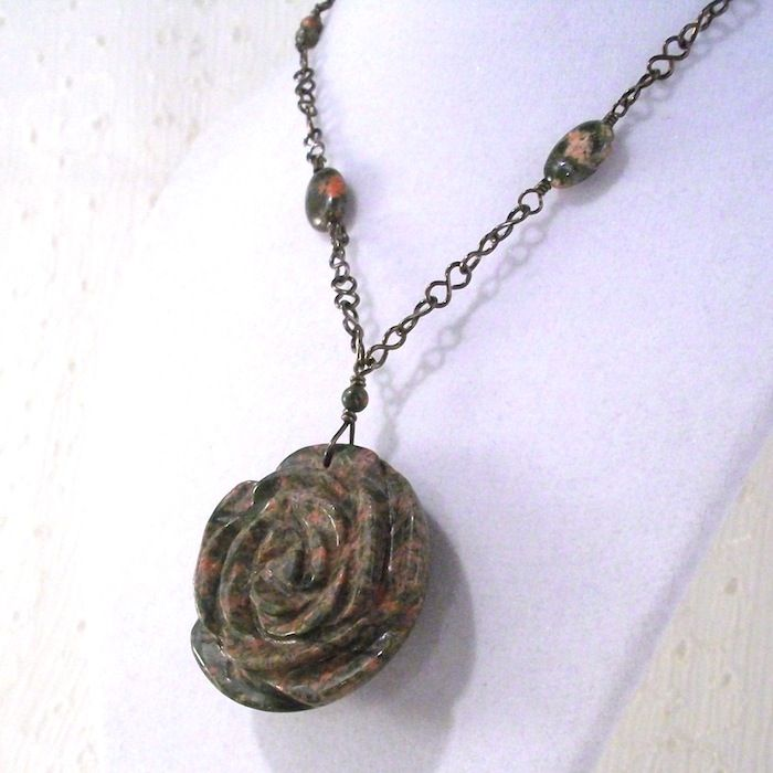 Unakite Rose Necklace with Niobium Handmade Chain - product images  of