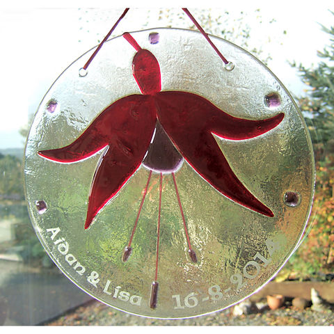 Bespoke,Fused,Glass,Fuchsia,suncatcher,-,large,inspired-glass, fused-glass, suncatcher, fuchsia, large